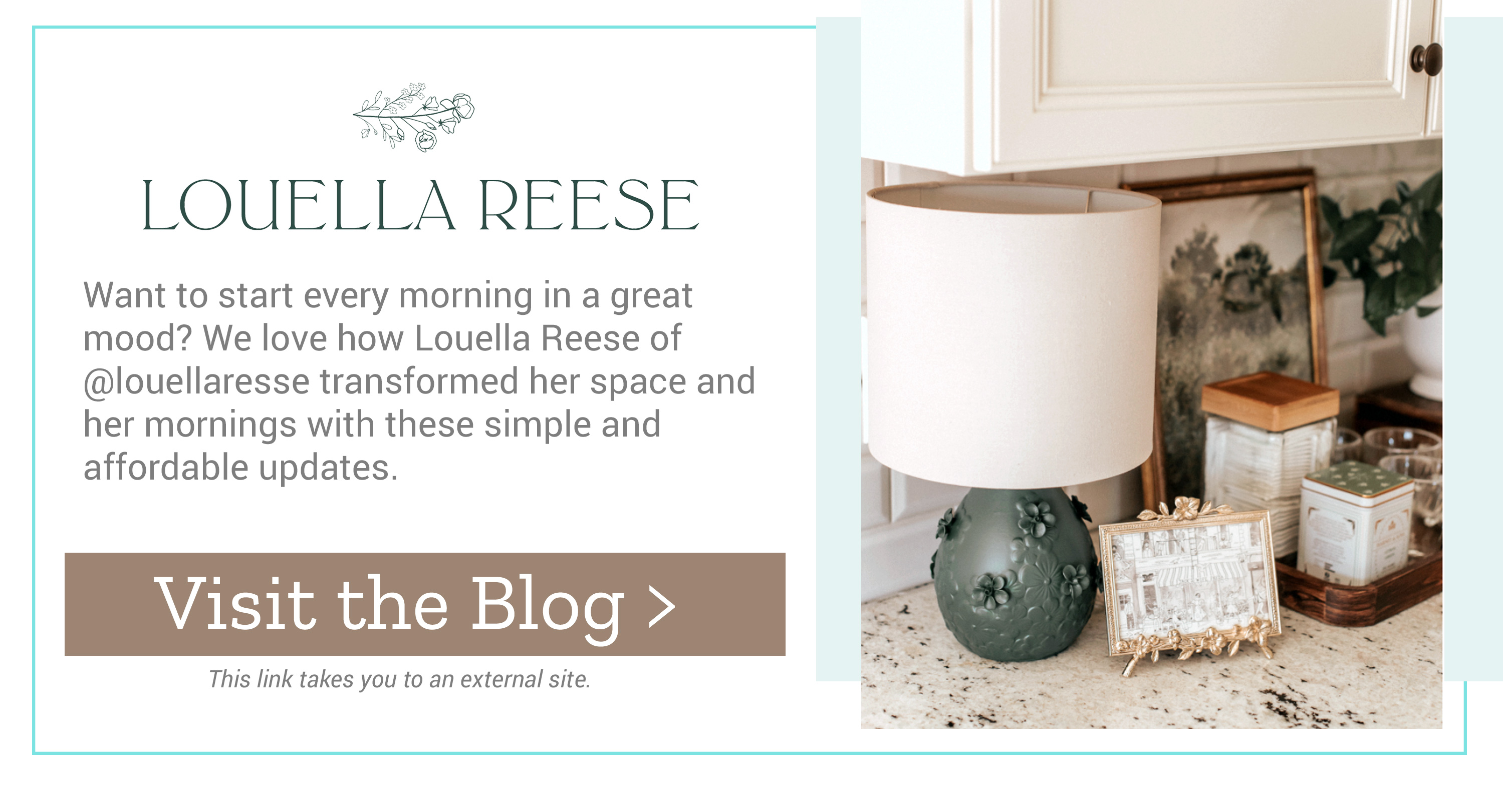 Louella Reese - Want to start every morning in a great mood? We love how Louella Reese of @louellaresse transformed her space and her mornings with these simple and affordable updates. Visit the Blog >