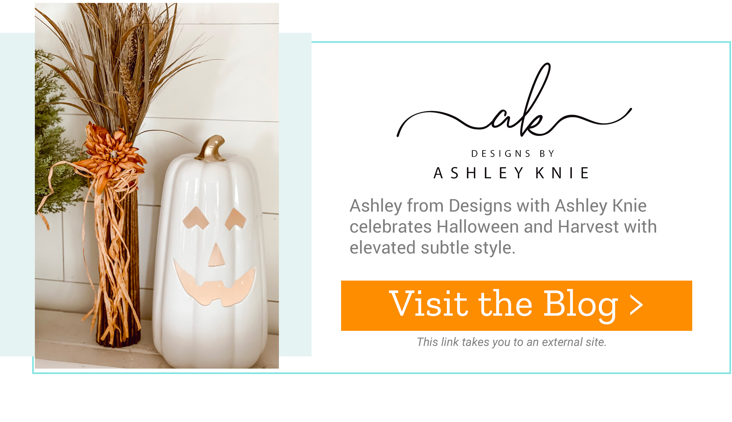 Ashley Knie - Ashley from Designs with Ashley Knie celebrates Halloween and Harvest with elevated subtle style. Visit the Blog >