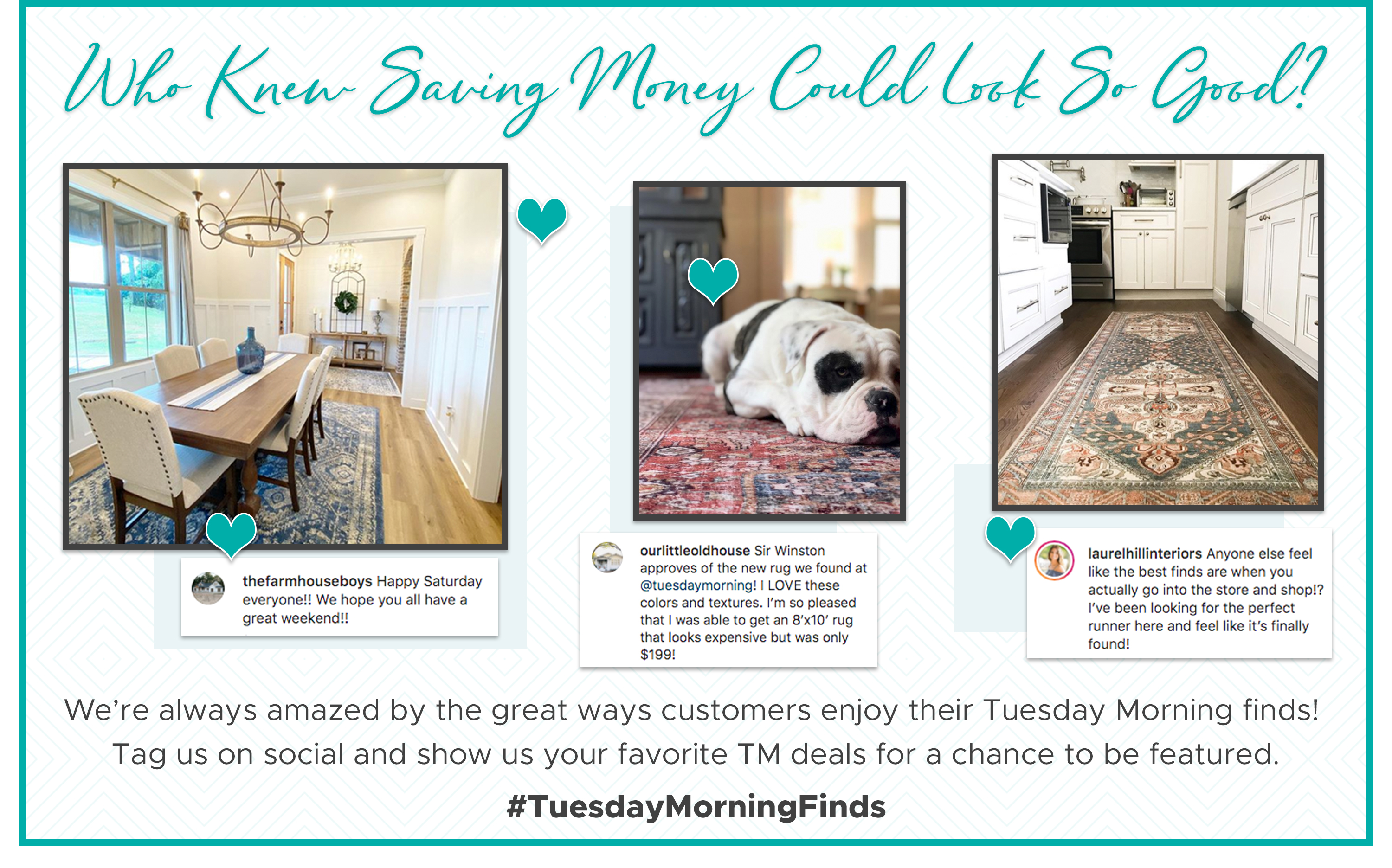 Tag us on social and show us your favorite TM deals for a chance to be featured. #TuesdayMorningFinds