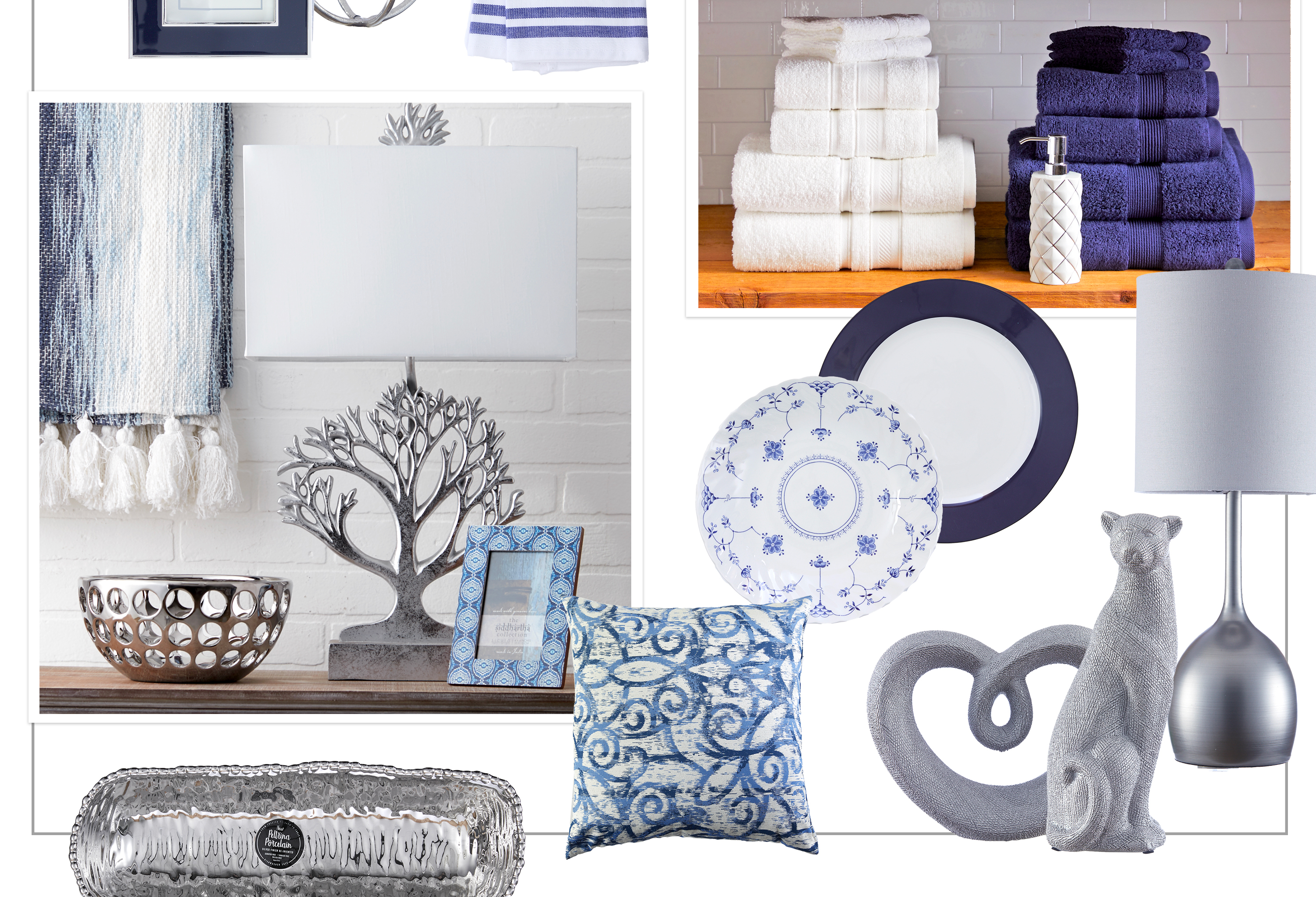 Navy & Platinum - Pair platinum as a sophisticated accent to traditional navy.