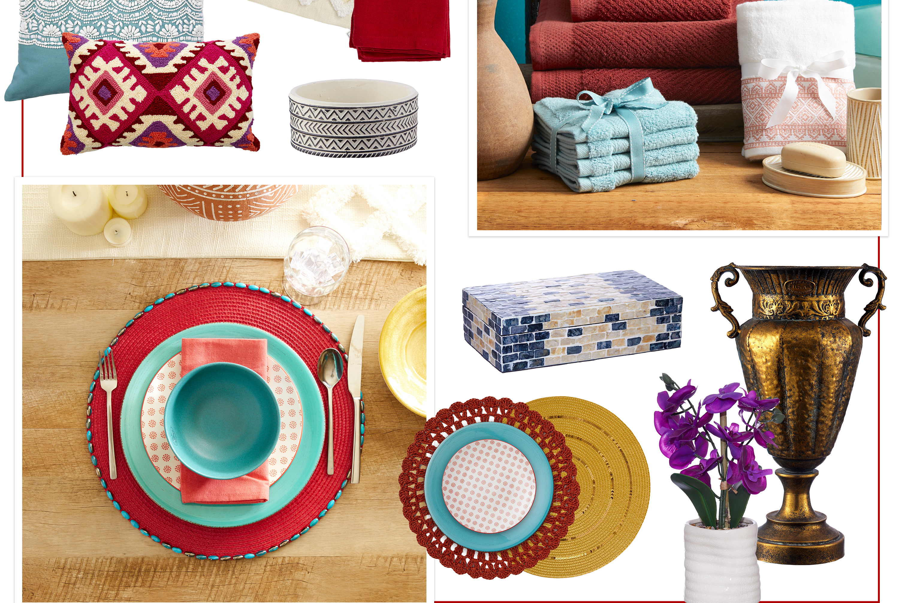 Moroccan Escape - Go for this global look by incorporating spicy reds with vibrant patterns and bold textures.