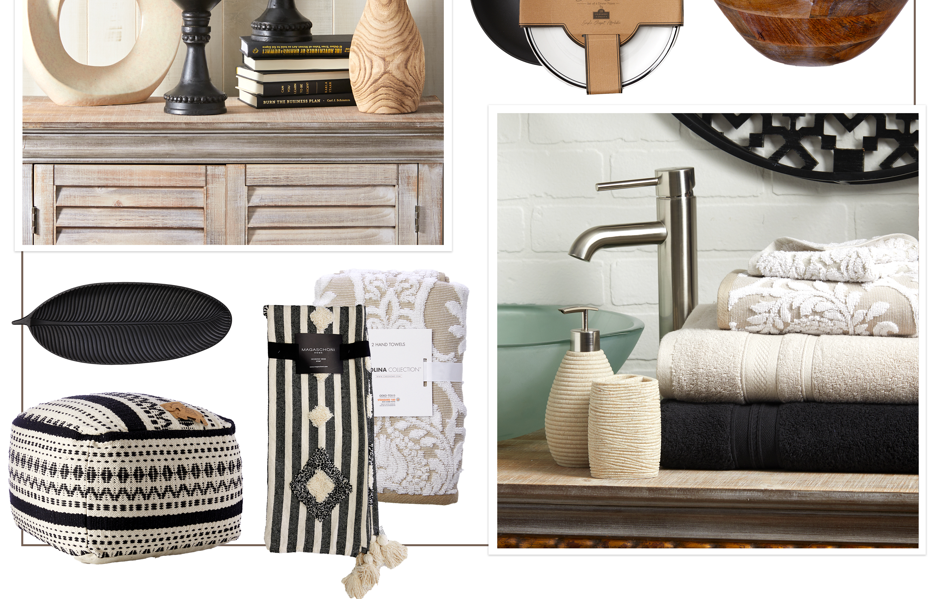 New Traditions - Dark accents and mixed textures update a traditional, neutral palette.