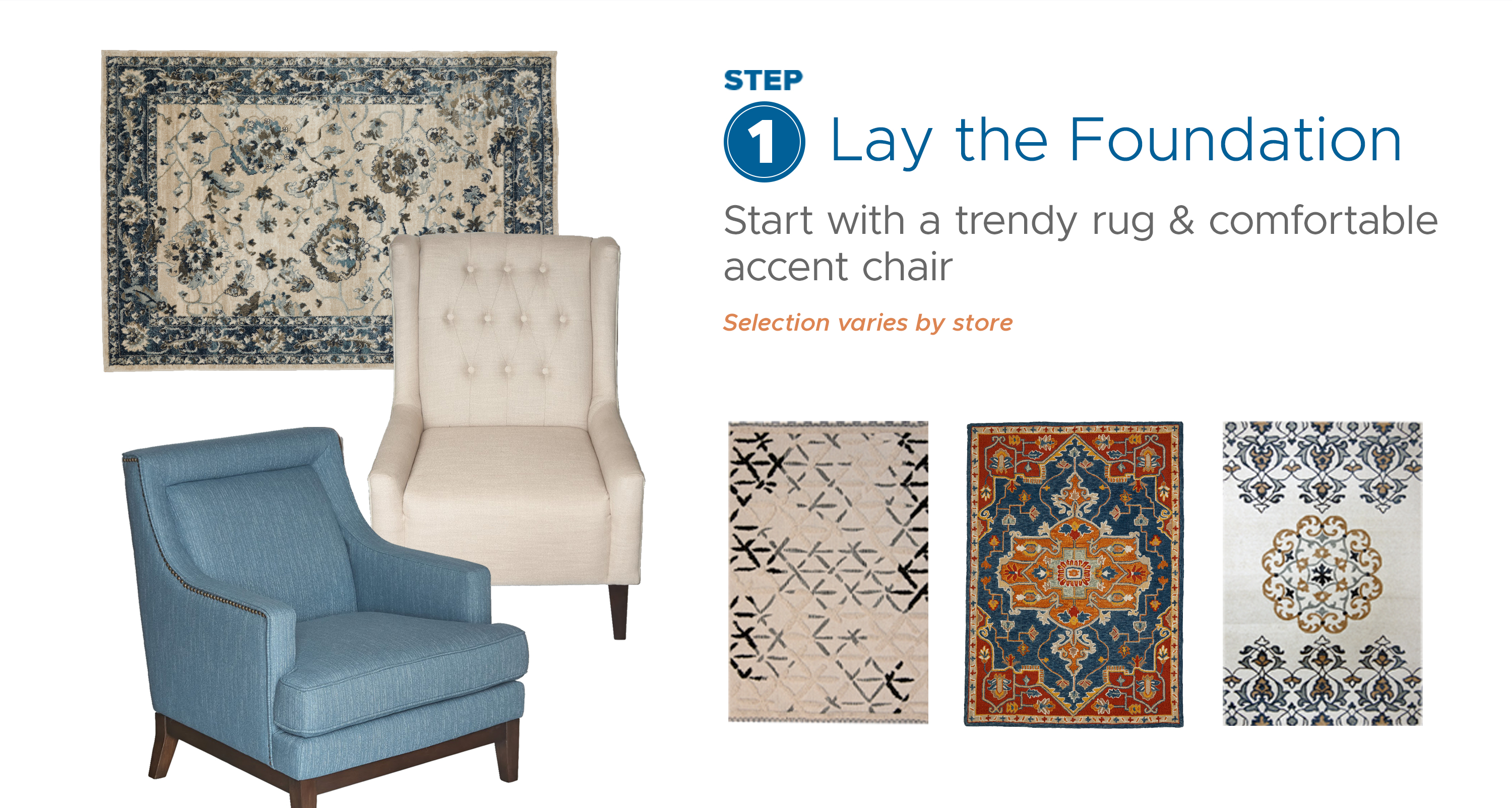 Step 1: Lay the Foundation - Start with a trendy rug & comfortable accent chair