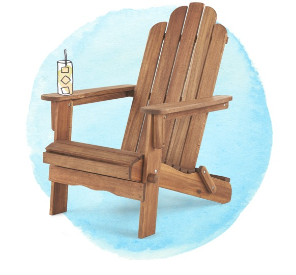 Reclining wooden patio chair with watercolor glass of lemonade