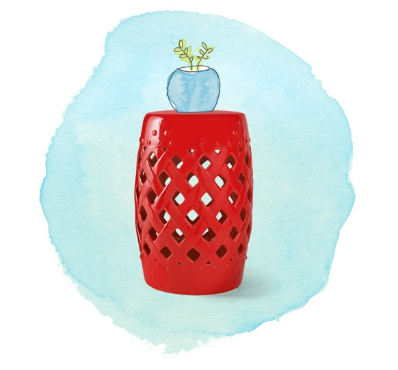 Ceramic red outdoor stand with watercolor planter.